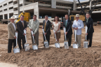 Executives from The Howard Hughes Corporation(R) and its wholly-owned subsidiary, The Woodlands Development Company, along with Whole Foods Market(R) broke ground with spoons and forks on a 40,000-square-foot store in Hughes Landing, a 66-acre mixed use development on Lake Woodlands. Pictured from left to right are: Peter Doyle, Executive Vice President, Design & Construction, The Howard Hughes Corporation; Peter Riley, General Counsel, The Howard Hughes Corporation; Topher Ramsdell, Coordinator of Site & Shell Development, Whole Foods Market; Grant Herlitz, President, The Howard Hughes Corporation; Laura Zappi, Executive Marketing Coordinator, Whole Foods Market; Paul Layne, Executive Vice President, Master Planned Communities, The Howard Hughes Corporation; Alex Sutton, Co-President, The Woodlands Development Company for The Howard Hughes Corporation; and Jim Carman, Director of Building Development, The Howard Hughes Corporation. (Photo: Business Wire)