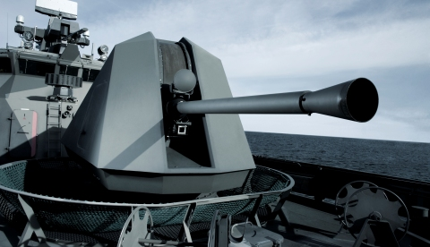 BAE Systems' 57 Mk3 naval gun can fire four rounds per second and can switch immediately between ammunition types to provide superb survivability and tactical freedom at all levels of conflict. (photo: BAE Systems)