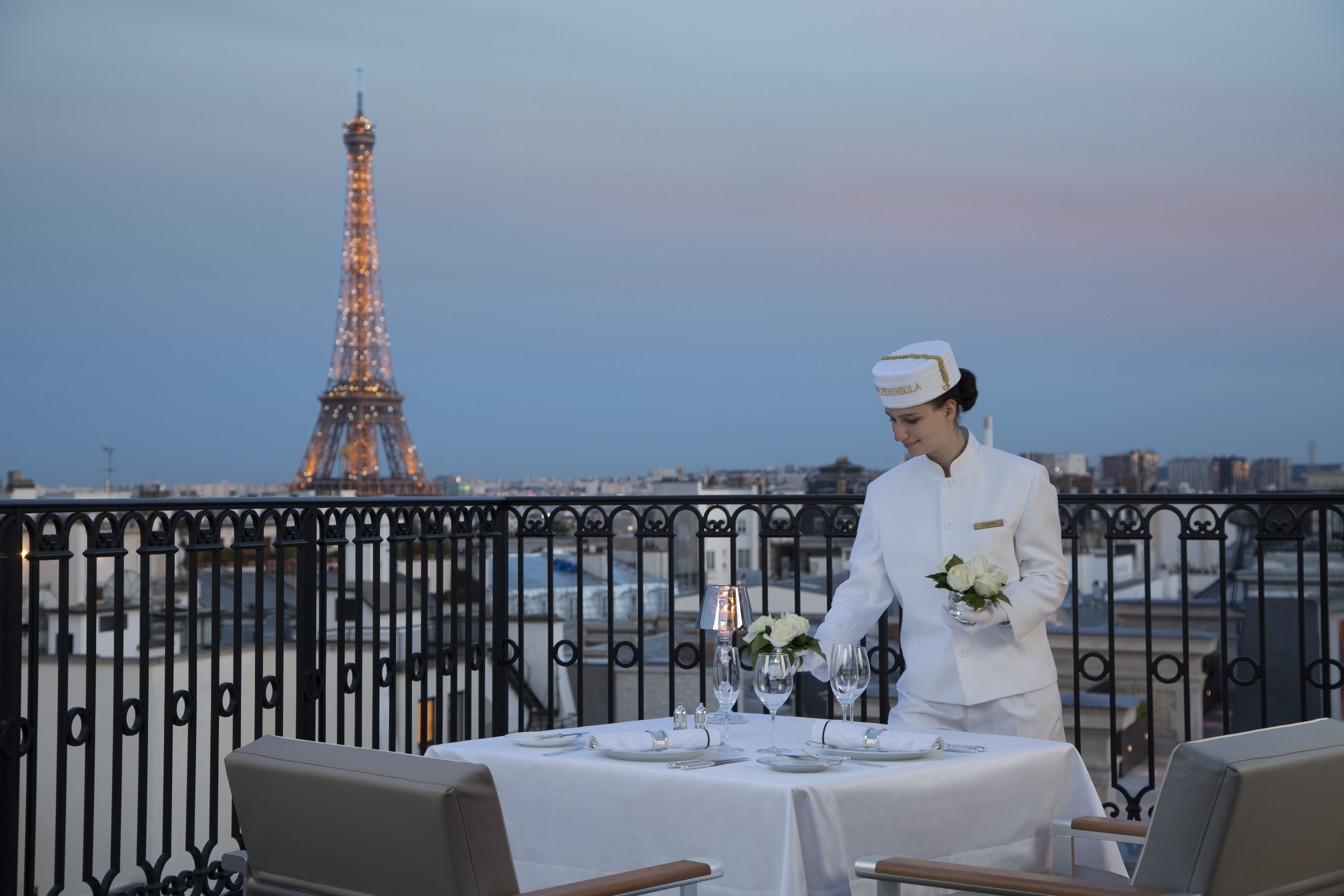 View towards the Eiffel Tower from the L'Oiseau Blanc terrace (Photo: Business Wire)