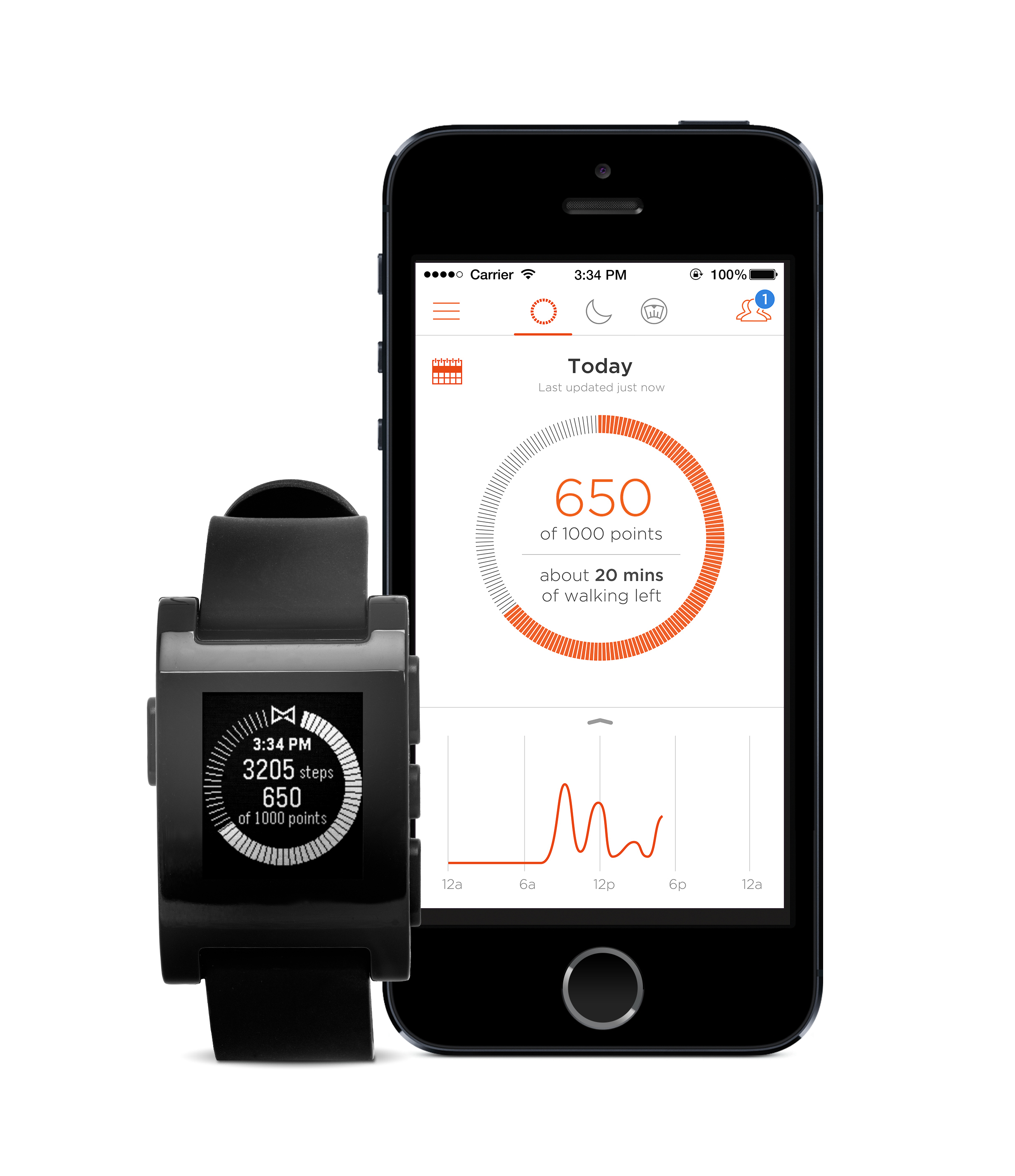 Pebble with Misfit Shine application (Photo: Business Wire)
