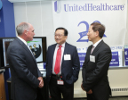 George Liu, M.D., president of the Chinese-American Independent Practice Association (center), talks with Jeff Alter, national CEO of UnitedHealthcare Employer & Individual, and Chris Law, national vice president of UnitedHealthcare Asian Initiatives, at the 20th anniversary celebration of UnitedHealthcare Asian Initiatives and the establishment of its first retail store in New York's Chinatown that has served thousands of Asian Americans in New York and New Jersey. The event was held at UnitedHealthcare's 168 Centre Street in Chinatown at its Asian Initiative consumer support center (PHOTO: Gerard Gaskin, Gaskin Photography).