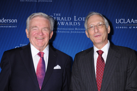 (From left) James Flanigan, Lifetime Achievement Award recipient, and John Brecher, Lawrence Minard Editor Award recipient, at the 2014 Gerald Loeb Awards in NYC. (Photo: Business Wire)