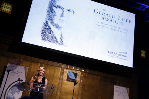 CNBC's Mandy Drury serves as master of ceremonies at the 2014 Gerald Loeb Awards in NYC. (Photo: Business Wire)