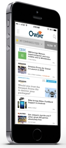 The new Owler mobile business app delivers a newsfeed and alerts for the companies you follow, crowdsourced company profiles and community polls, for free. (Photo: Business Wire)