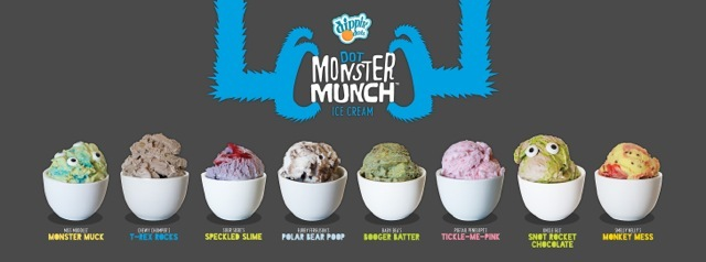 """Dot Monster Munch(TM) ice cream comes in a variety of """"disgustingly delicious"""" flavors including Baby Bea's Booger Batter(TM) and Uncle Gus' Snot Rocket Chocolate(TM). (Graphic: Business Wire)"""
