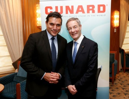 Celebrity Chef Todd English with David Dingle, CEO of Cunard Line, while aboard flagship Queen Mary 2. (Photo: Business Wire)