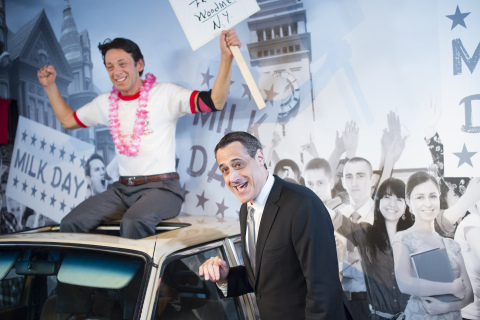 Stuart Milk unveils the wax figure of his uncle, civil and human rights leader, Harvey Milk at Madame Tussauds San Francisco. (Photo: Business Wire)