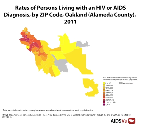 HIV prevalence in Oakland (Alameda County) at the ZIP code-level released today by AIDSVu, an interactive online mapping tool from Rollins School of Public Health at Emory University and Gilead Sciences, Inc. See more at AIDSVu.org. (Graphic: Business Wire)