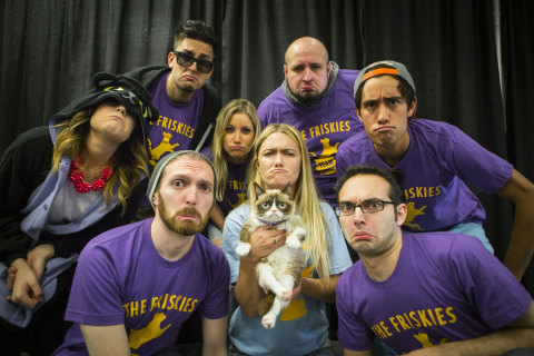 """Friskies® kicks off its search to find the next Internet cat superstar with the third annual """"The Friskies"""" - awards for the best Internet cat videos of the year – with brand """"spokescat"""" Grumpy Cat, YouTube celebrities The Fine Bros., Grace Helbig, Zach King, Will Braden and Jesse Wellens during VidCon at the Anaheim Convention Center, Friday, June 27, 2014, in Anaheim, Calif. Fans can enter """"The Friskies"""" at www.TheFriskies.com. (Bret Hartman/AP Images for Friskies)"""