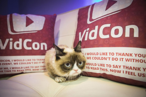 "Friskies® ""official spokescat,"" Grumpy Cat helped announce the third annual ""The Friskies"" awards, for the best Internet cat videos of the year, during VidCon at the Anaheim Convention Center, Friday, June 27, 2014, in Anaheim, Calif. Fans can enter ""The Friskies"" at www.TheFriskies.com. (Bret Hartman/AP Images for Friskies)"