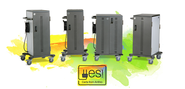 Yes Cart family of charging carts. Anthro's newest carts that adjust to fit any device. (Photo: Business Wire)