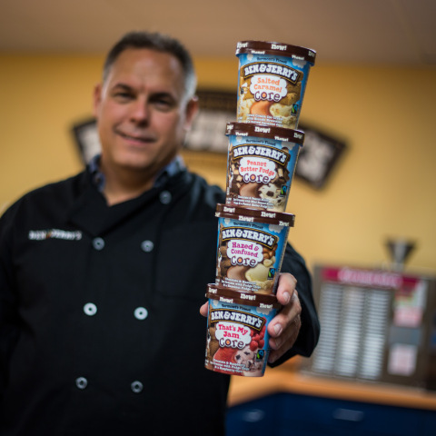 Ben & Jerry's Flavor Guru Eric Fredette proudly displays the new Cores line he helped create, photo credit to Ben & Jerry's