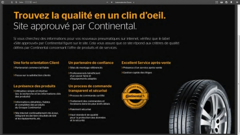 """www.123pneus.fr, the French online store of Europe's leading Internet tyre dealer Delticom, has been awarded the title """"Continental approved website"""". (Photo: Business Wire)"""