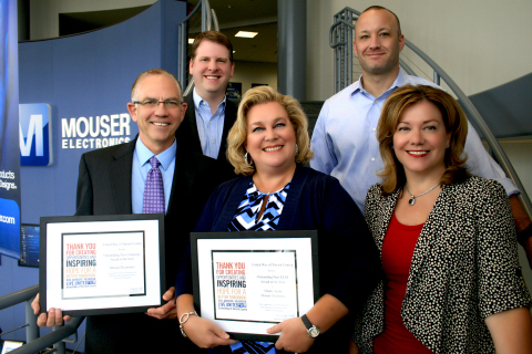 Mouser Electronics receives top awards from United Way for its 2014 fundraising campaign. Pictured (left to right) on top row are United Way's Asst. Vice President Steve Robbins and Donor Relations Manager Rick Van Hooser. On front row from Mouser: President & CEO Glenn Smith, HR Manager Cherie Ayala and HR Vice President Paula Holcomb. (Photo: Business Wire)