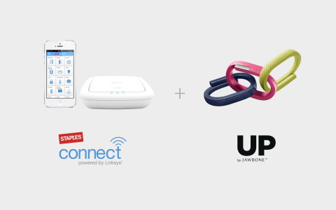 Through an integration with Staples Connect, users of the lifestyle tracker UP24 by Jawbone will be able to control other integrated devices such as thermostats, shades, cameras, and doorbells. For example, users will be able to turn on the lights or open the blinds by turning off sleep the mode on their Jawbone UP. (Photo: Business Wire)