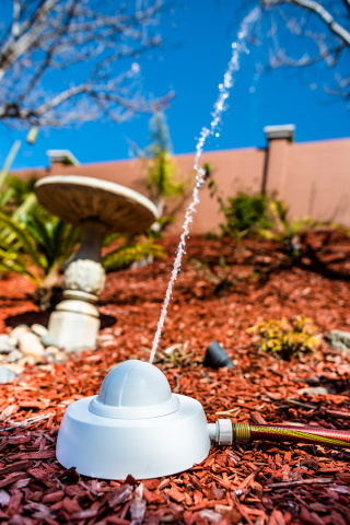 Droplet's smart sprinkler system can effectively water plants up to 30 ft. away (Photo: Business Wire)