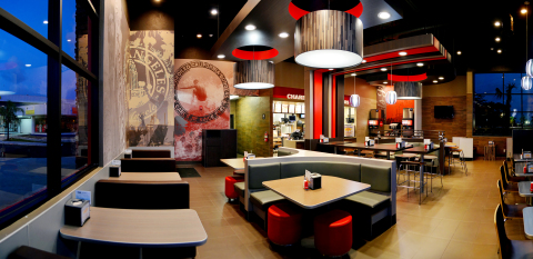 Incorporating elements from the company's Southern California roots, the Bahamian restaurant pictured shows off the sleek, signature style of Carl's Jr. and Hardee's. (Photo: Business Wire)