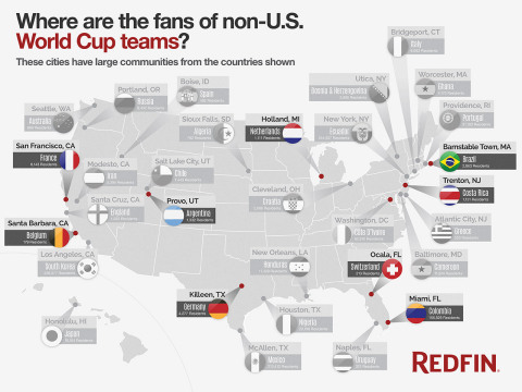 Where are the fans of non-U.S. World Cup teams? These cities have large communities from the countries shown. (Graphic: Business Wire)
