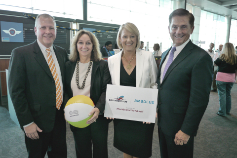 Amadeus and Southwest Airlines teams celebrate the airline's first international flights today at Baltimore-Washington International Airport during a press conference at the gate. Left to Right: Kevin Krone, Vice President and Chief Marketing Officer, Southwest Airlines, Lois McKeon, Account Director, Amadeus, Teresa Laraba, Senior Vice President of Customers, Southwest Airlines and Jack Smith, Vice President of Ground Operations, Southwest Airlines (Photo: Business Wire)