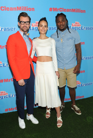 Celebrity stylist Brad Goreski, left, actress Jordana Brewster, center, and New York Jets running back Chris Johnson attend the Mr. Clean Summer Fashion party, Tuesday, July 1, 2014, in New York. The event, hosted by Goreski, showcased that there are about a million uses for the famed Magic Eraser, including those in fashion, beauty and beyond. (Diane Bondareff/Invision for Mr. Clean)