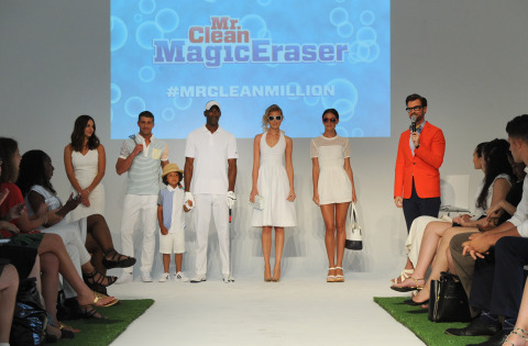 Celebrity stylist Brad Goreski, right, hosts the Mr. Clean Summer Fashion Party, Tuesday, July 1, 2014, in New York, featuring white-hot summer looks and fashion tips using the Magic Eraser with make-up and hair by Sunnie Brook, left. The event showcased that there are about a million uses for the famed Magic Eraser, including those in fashion, beauty and beyond. (Diane Bondareff/Invision for Mr. Clean)