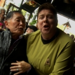 "George Takei, ""Hikaru Sulu"" in the original ""Star Trek"" television series, enjoying lively conversation with a ""Trekkie"" (Photo: Business Wire)"