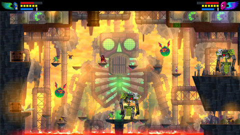 Guacamelee! is an action-platformer set in a magical, Mexican-inspired world. Explore lively towns and dangerous temples, unlock new luchador powers and suplex some skeletons in this expanded version of the original game. (Photo: Business Wire)