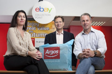 Tanya Lawler, Vice President eBay, John Walden, CEO Home Retail Group and Devin Wenig, President, eBay Marketplaces announce Click and Collect at Argos will be offered to all eligible eBay sellers in the UK (Photo: Business Wire)