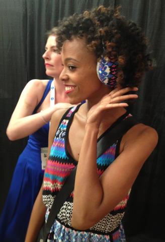 Jillian Walker models customized headphones (Photo: Business Wire)