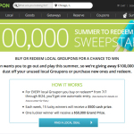 Groupon launches $100,000 Summer to Redeem Sweepstakes, which includes $500 cash prizes each week and one grand prize of $50,000 cash. (Graphic: Business Wire)