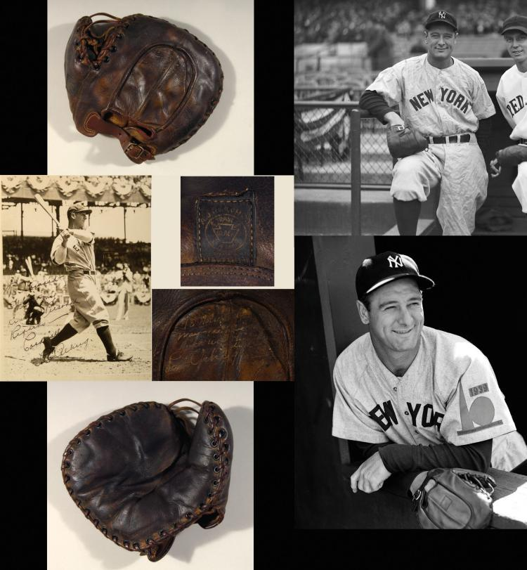 A Lou Gehrig autographed baseball mitt (c.1935) will headline the live auction through Hunt Auctions, available for live online bidding through Invaluable.com. (Photo: Business Wire)