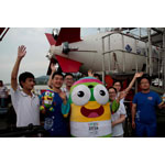 Jiao Long Submersible was going to start his trip to the West Pacific Ocean. Nanjing Lele was cheering for Jiao Long Submersible setting sail together with teenagers and scientific research team. (Photo: Business Wire)