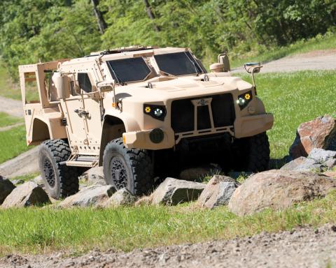 The Oshkosh Defense(R) L-ATV (pictured) achieved JLTV program milestone by completing Net-Ready testing. (Photo: Business Wire)
