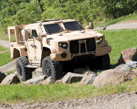 The Oshkosh Defense(R) L-ATV (pictured) achieved JLTV program milestone by completing Net-Ready testing. (Photo: Business Wire)
