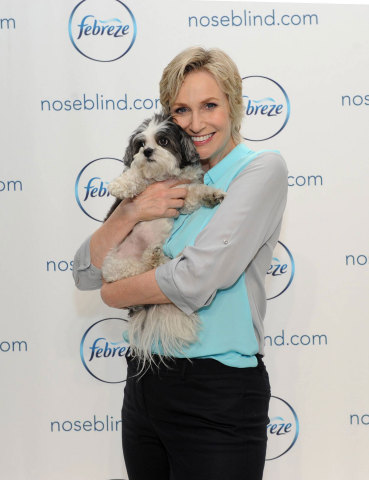 Emmy award-winning actress Jane Lynch holds dog Baby Hope at a Febreze event to shed light on a little known condition: noseblindness and to encourage dialogue about what your guests really smell, Wednesday, July 9, 2014, in New York.  Check out her Funny or Die video on the topic at noseblind.com.  (Photo by Diane Bondareff/Invision for Febreze)