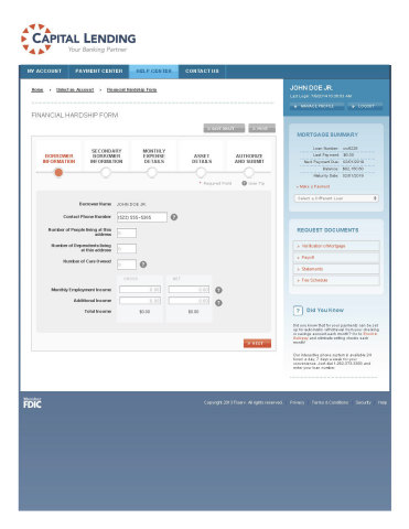 Sample Financial Hardship Self-Service Screen (Graphic: Business Wire)