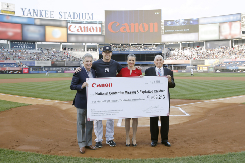Photo credit: New York Yankees. All Rights Reserved. From left to right: John Walsh, Shawn Kelley, Ana Tavares and John Arnos celebrate the 11th consecutive year of Canon Promotional Night at Yankee Stadium and the strides that have been made to help keep our children safe.