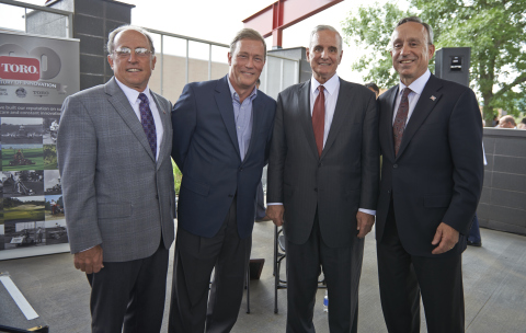 Left to right: Mayor Gene Winstead (Bloomington); Jeff Appelquist, author of Toro's recently released centennial book, Legacy of Excellence; Governor Mark Dayton (Minnesota); and Michael J. Hoffman, Toro's chairman and CEO (Photo: The Toro Company)