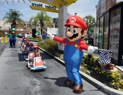 In this photo provided by Nintendo of America, kids ride through the McDonald's drive-thru on their  ...