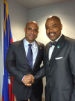 Children's Hospital Los Angeles Surgeon-In-Chief Henri R. Ford, MD, MHA (right), meets with Prime Minister Laurent Lamothe in Haiti. (Photo: Business Wire)