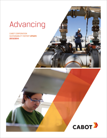 "Cabot is pleased to present the update to its 2012-2013 Sustainability Report, ""Advancing."" (Graphic: Business Wire)"