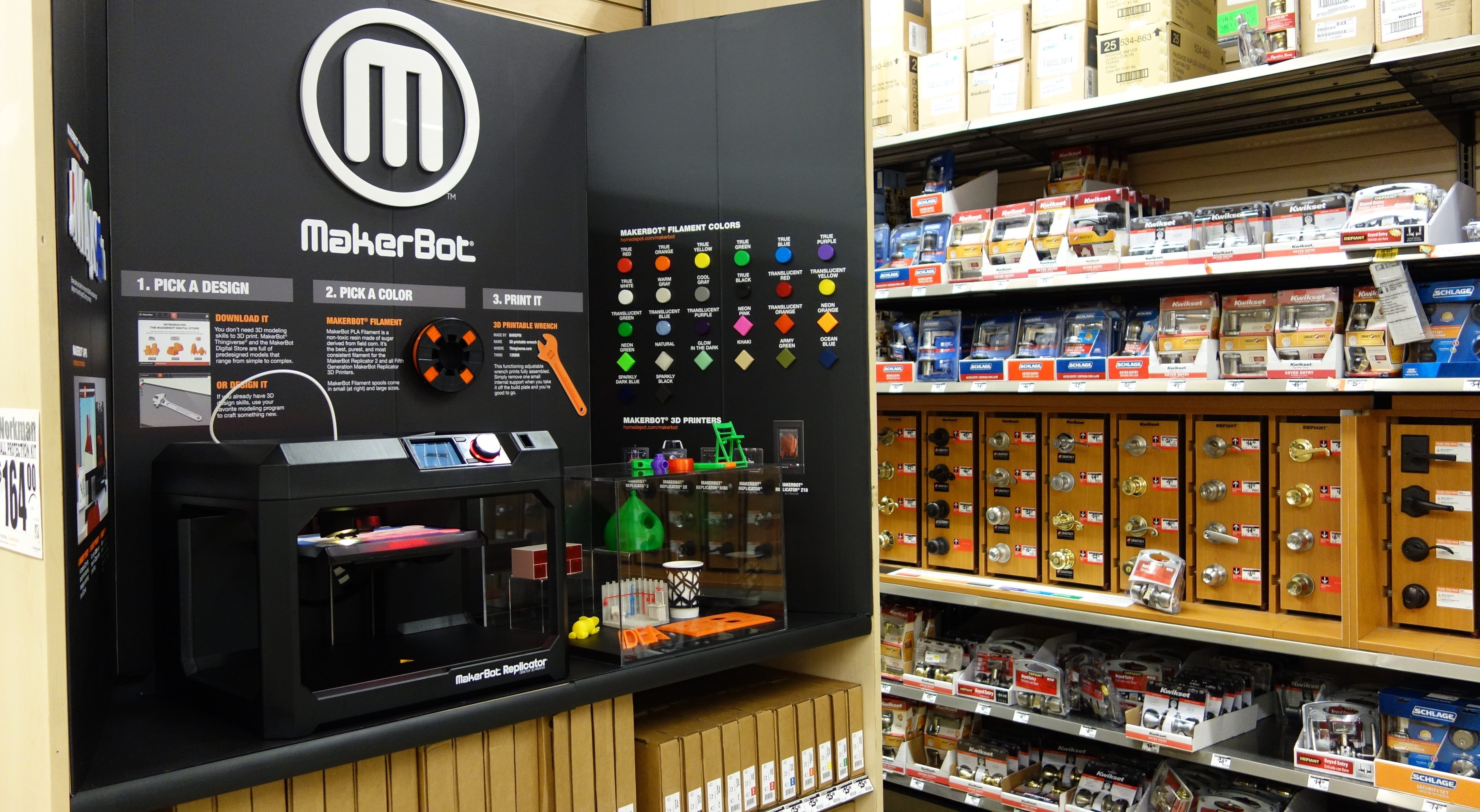 MakerBot and The Home Depot(R) announce a collaboration to bring MakerBot(R) Replicator(R) Desktop 3D Printers to customers on homedepot.com/makerbot and in 12 Home Depot stores in California, Illinois and New York beginning July 14, 2014. This is the first time The Home Depot has offered 3D printers for sale in its stores and will be a pilot program for MakerBot and The Home Depot. (Photo: Business Wire)