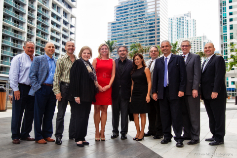 Miami New Construction Show steering committee, associates and board members gather following inaugural committee meeting Tuesday, July 1, 2014. (From left) Bill Hefferman, Alex Barthet, Dominic Pickering, Silvia Sabates Coltrane, Anita Funtek, Reinaldo Borges, Jenny Huertes, John Fakler, J.C. Gomez, David Lyons, and Peter Zalewski. (Photo by Andrea Mate)