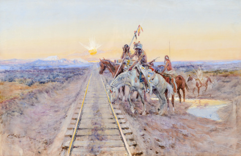 """Trail of the Iron Horse"" by Charles M. Russell is expected to realize $1,500,000 - $2,500,000 through The 2014 Coeur d'Alene Art Auction on July 26, with online bidding available through Invaluable.com.  (Photo: Business Wire)"