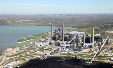 The WA Parish plant showing the carbon capture facility that will be part of the world's largest pos ...