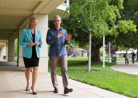 Tim Cook, Apple CEO and Ginni Rometty, IBM CEO today announced a global partnership to transform ent ...