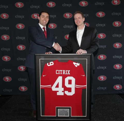 San Francisco 49ers CEO Jed York (left) joins Citrix COO and CFO David Henshall (right) © Copyright 2014, Levis Stadium, all rights reserved (Photo: Business Wire)