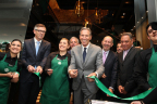 Starbucks chairman, president and chief executive officer Howard Schultz celebrated the opening of Starbucks first store in Colombia on July 16, 2014 with Starbucks partners (employees) and leaders from Alsea and Grupo Nutresa. Located in Bogota's Parque de la 93, this iconic three-story location serves 100% locally sourced coffee, honoring the country's rich coffee heritage.   In this photo: Cliff Burrows (Starbucks group president, US, Americas and Teavana), Cielo Morero (store manager), Rich Nelsen (Starbucks svp and general manager, Latin America,), Howard Schultz (Starbucks chairman, president and ceo), Carlos Gallego (ceo of Grupo Nutresa), Alberto Torrado (chairman of Alsea), Federico Tejado (general manager of Starbucks for Alsea).  (Photo: Business Wire)