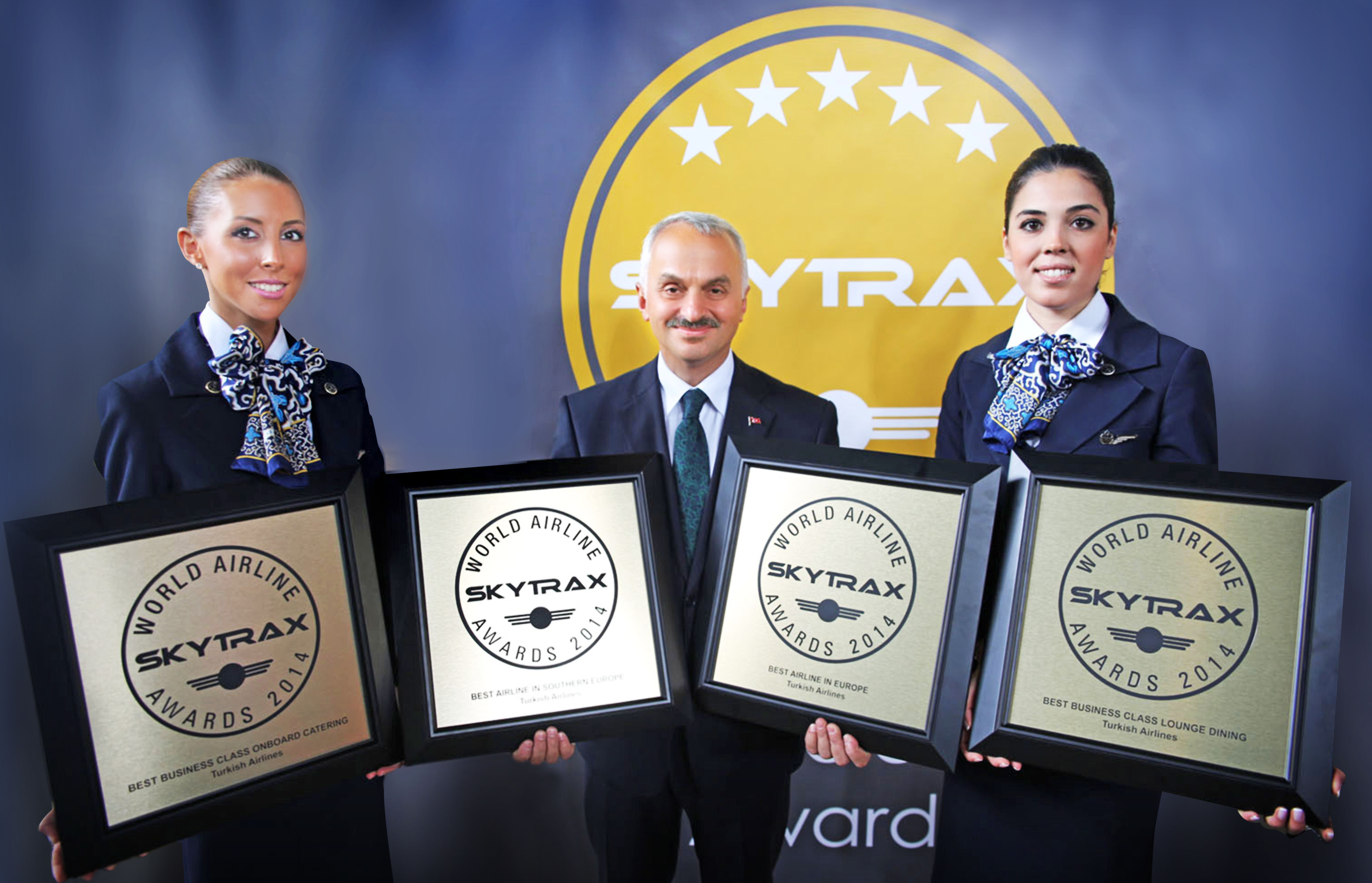 "Turkish Airlines CEO Temel Kotil, Ph.D. accepts the ""Best Airline in Europe,"" ""Best Airline in Southern Europe,"" ""Best Business Class Catering,"" and ""Best Business Class Lounge Dining"" awards at the 2014 Skytrax World Airline Awards. (Photo: Business Wire)"