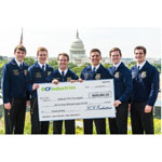 National FFA officers accept CF Industries' $600,000 donation to support excellence in farmer education and fertilizer best management practices.  From left to right:  Jackson Harris, National FFA Southern Region Vice President, University of Alabama; Wes Davis, National FFA Eastern Region Vice President, Purdue University; Steven Brockshus, National FFA Central Region Vice President, Iowa State University; Mitch Baker, National FFA Secretary, University of Tennessee; Brian Walsh, National FFA President, Virginia Tech; and Jason Wetzler, National FFA Western Region Vice President, Oklahoma State University. (Photo: Jack Conroy)